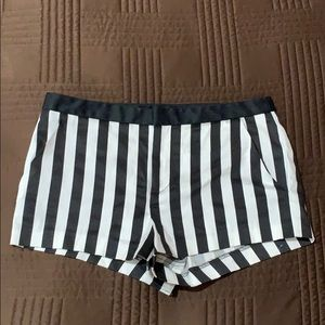 Black and White Striped Forever 21 Shorts
